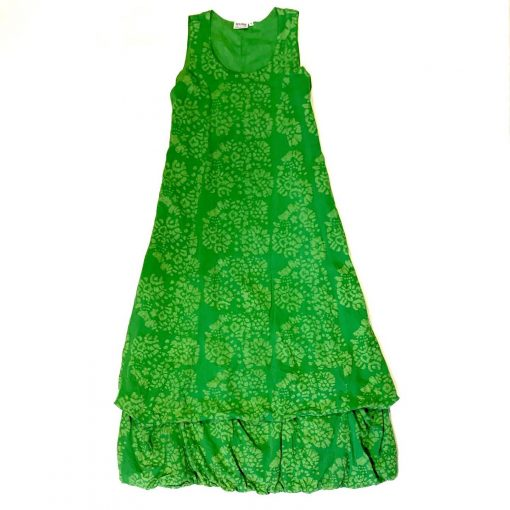 Vintage Anohki Collection green batik maxi dress