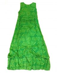 Vintage Anohki Collection green batik maxi dress, detail