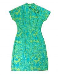 Vintage blue & green shell print cheongsam