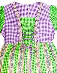 Vintage green/purple/white gingham maxi dress, detail