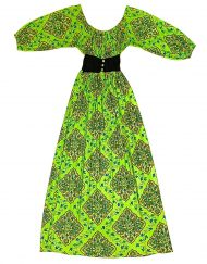 Vintage maxi dress, green with colorful pattern