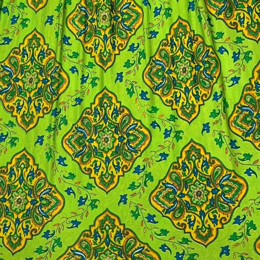 Vintage maxi dress, green with colorful pattern, detail