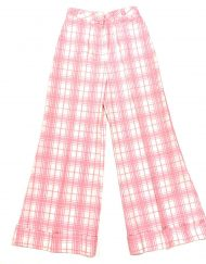 Vintage Tomboy pink plaid seersucker high-waisted wide leg pants
