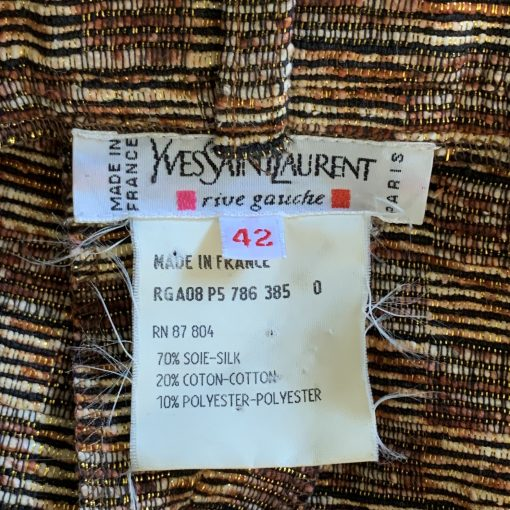 Vintage Yves Saint Laurent Rive Gauche pants, checked metallic thread pattern, detail 2