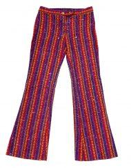 Vintage rainbow stripe woven patterned pants