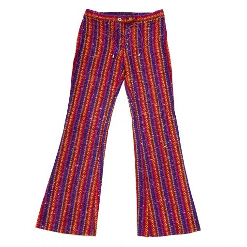Vintage rainbow stripe woven patterned pants
